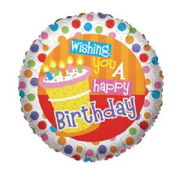 "100 Units of CV 18"" SS Wishing You A H B-Day - Balloons/Balloon Holder"