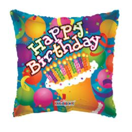100 Units of Cv 18 SS B-Day Balloons/Cake Sq - Balloons/Balloon Holder