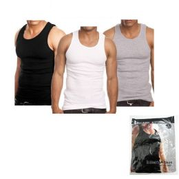 15 Units of Men's Ribbed AshirtS-3 In A Pack - Mens T-Shirts
