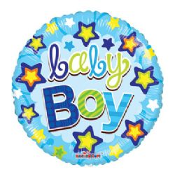 100 Units of CV 18 DS Baby Boy Blue Stars - Balloons/Balloon Holder