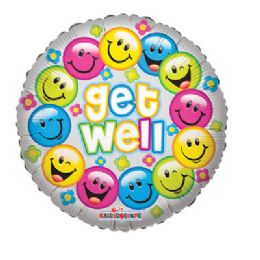 100 Units of CV 18 DV Get Well Smilies - Balloons/Balloon Holder