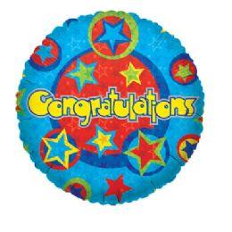 100 Units of CV 18 SS Congrats Star Pattern - Balloons/Balloon Holder