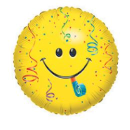 """100 Units of CV 18"""" SS Smiley Blowout w/Conf - Balloons/Balloon Holder"""