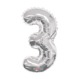100 Units of CV 14 DS Silver Number 3 - Balloons/Balloon Holder