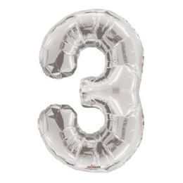 100 Units of CV 34 JS Silver Number 3 - Balloons/Balloon Holder