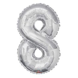 100 Units of CV 34 JS Silver Number 8 - Balloons/Balloon Holder