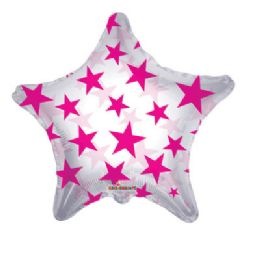 100 Units of CV 22 DS  H Pink Stars Shape Clv - Balloons/Balloon Holder
