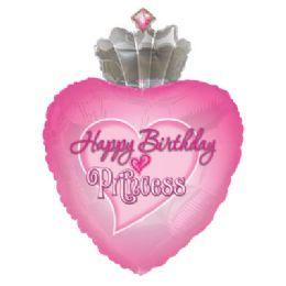 100 Units of CT 30 JS B-D Princess Heart/Crown - Balloons/Balloon Holder