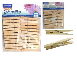 144 Units of 48pc Wooden Cloth Pegs - Clothes Pins