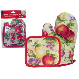 144 Units of Glove + Pot Holder 2pc/Pc Apple - Oven Mits & Pot Holders