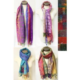12 Units of MultI-Colors Paisley Floral Pashmina Assorted Colors - Womens Fashion Scarves