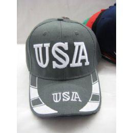 48 Units of USA  Baseball Cap  Assorted Colors - Baseball Caps & Snap Backs