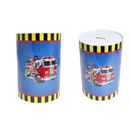 48 Units of Fire Truck Tin Saving Bank - Coin Holders & Banks