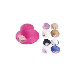72 Units of Ripple Brim Sun Hat with Flower Design - Sun Hats