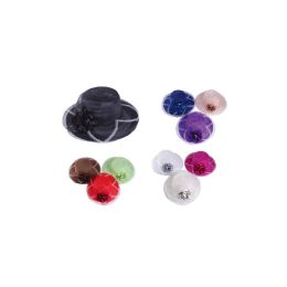 72 Units of Mesh Summer Hat with Flower Design - Sun Hats