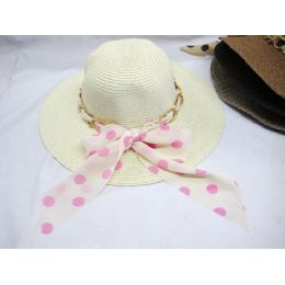 36 Units of Ladies Summer Polka Dot Hat Assorted Colors - Sun Hats