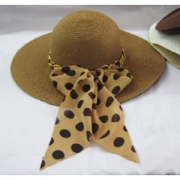 36 Units of Ladies Polka Dot Ribbon Summer Hat Assorted Colors - Sun Hats