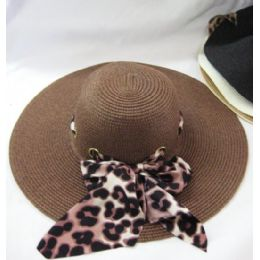 36 Units of Ladies Animal Print Ribbon Summer  Hat  Assorted Colors - Sun Hats
