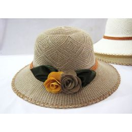 36 Units of Ladies Floral Summer  Hat  Assorted Colors - Sun Hats