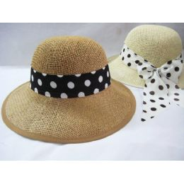 36 Units of Ladies Polka Dot Summer Hat Assorted Colors - Sun Hats