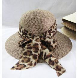36 Units of Ladies Cheetah Print Bow Summer Hat Assorted Colors - Sun Hats