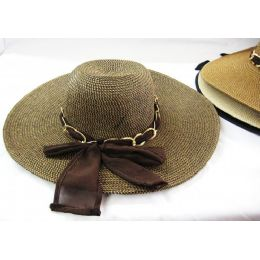 36 Units of Ladies Summer Hat Assorted Colors With Chain Link Design - Sun Hats