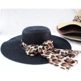36 Units of LadiesAnimal Print Summer Hat Assorted Colors - Sun Hats