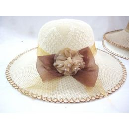 36 Units of Ladies Summer Hat Solid Colors Solid With Accent Bow - Sun Hats