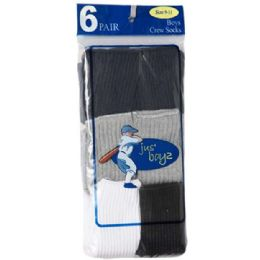 36 Units of Boy's Crew Socks Assorted Size 4-6 - Boys Crew Sock