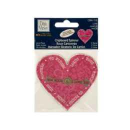 144 Units of Love Chipboard Spinner Sticker with Glitter Accents - Scrapbook Supplies