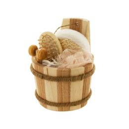 12 Units of Bath Set In Wood Barrel - Bath And Body