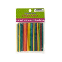 72 Units of Multi-color Wood Dowel Sticks - Craft Wood Sticks and Dowels