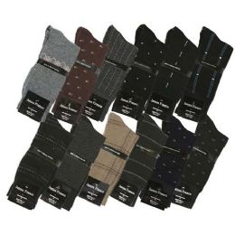 108 Units of James Fiallo Men's Printed Dress Socks - Mens Dress Sock