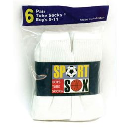 30 Units of Boy's White Tube Socks size 4-6 - Boys Ankle Sock