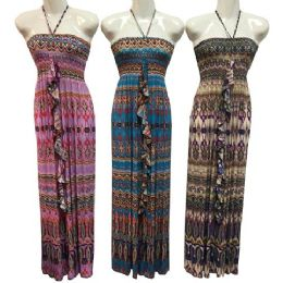12 Units of Tube Dress With Neck Ties And Ruffle Center Assorted - Womens Sundresses & Fashion