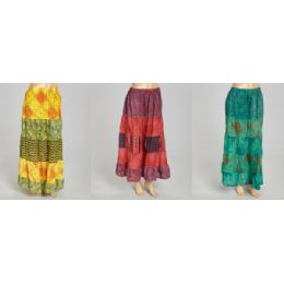 12 Units of Maxi Skirt Abstract Print Adjustable Waist Tie Assorted - Womens Skirts