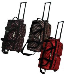 "12 Units of ""E-Z Roll"" 22"" Polka Dots Rolling DuffeL-Brown W/aqua - Travel & Luggage Items"