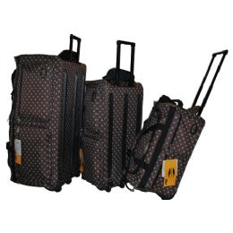 "8 Units of ""E-Z Roll"" 30"" Polka Dots Rolling Duffel-Brwon W/Aqua - Travel & Luggage Items"