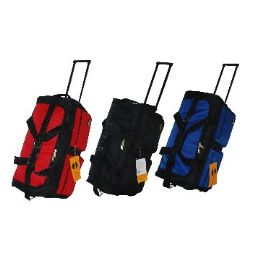 """8 Units of """"E-Z Roll"""" 30"""" Rolling Duffel-Black W/Red - Travel & Luggage Items"""