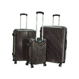 """2 Units of """"E-Z Roll"""" 3pc Black W/Pink Dots Spinner Wheel Hardshell - Travel & Luggage Items"""