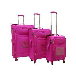 "2 Units of ""E-Z Roll"" 3pc Exp. Super Light Spinner W/TSA Lock-Pink - Travel & Luggage Items"