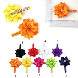 72 Units of HAIR CLIPS SATIN EMBELLISHED FLOWER 9 ASSTD. COLORS - Hair Fancy Clips