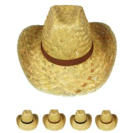 24 Units of Adult Straw Cowboy Hat Assorted Band - Cowboy & Boonie Hat
