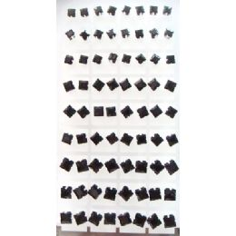 6 Units of 36 Pairs Black Studs Per Display Card Ast Sizes - Earrings
