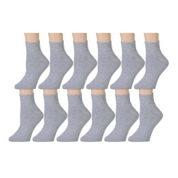60 Units of Yacht & Smith Men's Cotton Sport Ankle Socks Size 10-13 Solid Gray - Mens Ankle Sock