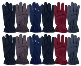 36 Units of Yacht & Smith Mens Double Layer Fleece Gloves Packed Assorted Colors - Fleece Gloves