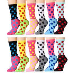 ''12 Units of Womens Polka Dot Crew Socks, Size 9-11 Cotton''