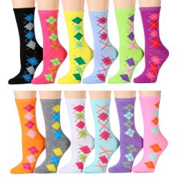 ''12 Units of Women's Argyle Crew Socks, Cotton Size 9-11''