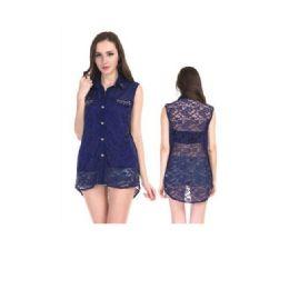 72 Units of Woman Fashion Summer Top Chiffon Lace With Studs - Womens Fashion Tops