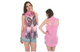 72 Units of Woman Fashion Printed Chiffon Summer Top - Womens Fashion Tops
